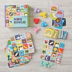 Our Nod Bingo game is filled to the brim with colors, animals and pretty much everything we love. This kid-friendly game has enough pieces for 6 buds to play. Designed exclusively for us by Michelle Romo.