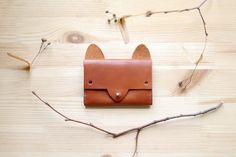 Fox Wallet simple leather cardholder por smallqueue en Etsy