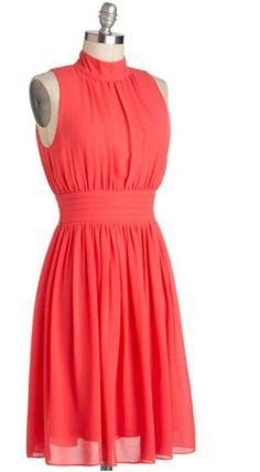ModCloth Formal / Bridesmaid Windy City Mock Neck Dress in Bright Coral Medium