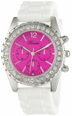 "Breda Women's 2292-Wht/Pink ""Meryl"" Rhinestone Bezel White Silicone Watch Breda. $25.20. White silicone band with buckle. Silver metal rhinestone encrusted bezel. Pink dial with three non-working chronograph sub dials; Silver hour, minute, and second markers. Highest standard Quartz movement. Water-resistant - not recommended to take into deep water or shower. Save 30%!"