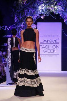 Lakme Summer Resort 2014 Manish Malhotra black and white lehnga with short blouse