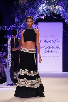 Lakme Summer Resort 2014 Manish Malhotra black and white lehnga with short blouse
