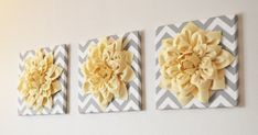 Wall Flower Light Yellow Dahlia on Gray and White by bedbuggs, $34.00
