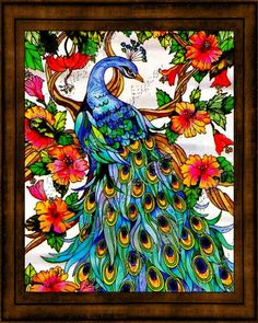 Stained Glass Tropical Peacock Photographic Print by ChezLorraines, $ ...