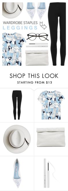 """Wardrobe Staples: Leggings"" by c-silla ❤ liked on Polyvore featuring Polo Ralph Lauren, Monki, Calypso Private Label, Marie Turnor, Manolo Blahnik and Estée Lauder"