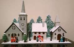 WeRChristmas LED Wooden Church and Village Scene, 35cm - Hand Painted