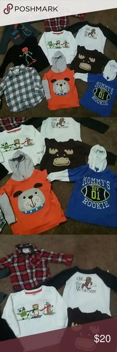 Boys 6-12 month long sleeve shirt bundle Boys long sleeve shirts. Sizes 6-9 months and 4 gymboree shirts are 6-12 months(grey plaid, black pumpkin,white with sledding animals, and gingerbread vacay shirt) one shirt is children's place, Oshkosh and Carters Gymboree Shirts & Tops Tees - Long Sleeve