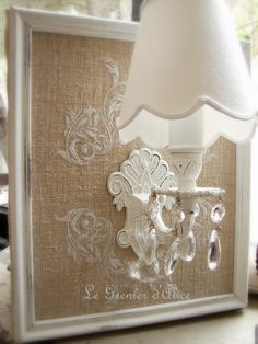 embroidered burlap frame with adorable shabby sconce