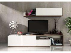 Mur TV 3 portes + 1 tiroir OTAWA coloris pin foncé cendré /blanc - Vente de Meuble tv - Conforama