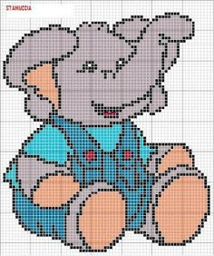 Elephant #cross #stitch Cross Stitch For Kids, Cute Cross Stitch, Cross Stitch Rose, Elephant Cross Stitch, Cross Stitch Animals, Cross Stitching, Cross Stitch Embroidery, Cross Stitch Patterns, Plastic Canvas Crafts