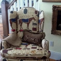 Wonderful old Ralph Lauren fabric on a classic wing back chair