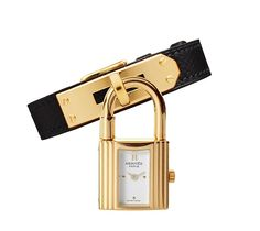 Kelly Watch, Swiss-made, quartz movement, gold-plated case with white dial, black calfskin strap. $2,500.