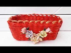 Cos dreptunghiular decorat cu trandafiri din cartoane oua - Rectangular ... Rectangular Baskets, Wraps, Make It Yourself, Handmade, Paper Basket, Hampers, Paper Envelopes, Hand Made, Rap