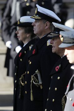 (L to R) Anne Princess Royal, Prince Andrew, Duke of York, Prince Philip, Duke of Edinburgh and The Duke of Cambridge, Prince William, at the Remembrance Sunday in Whitehall