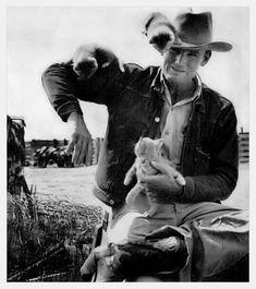 Cowboy + kittens, 1949 :)