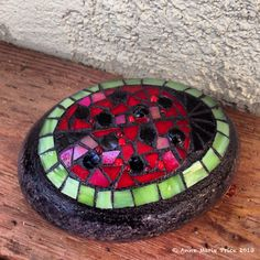Ladybug Mosaic on rock from San Onofre Beach, CA by Anne Marie Price $40.00 plus shipping #mosaic #art #AMP #mosaicart #garden #rock ~SOLD~