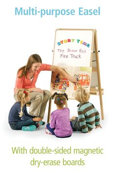 This lightweight, multi-purpose easel can be used as a big book stand, message board, dry erase board, or in the art area. Art Area, Book Stands, Classroom Setting, Soothing Colors, Dry Erase Board, High Quality Furniture, Preschool Classroom, Message Board, Fire Trucks