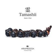 Tamashii - Bracciale Tradizionale Tibetano Lava Nera Naturale