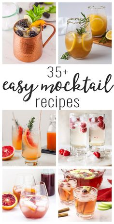 20 refreshing cocktails and mocktails to enjoy during the hot days and nights of summer or on Memorial Day! Easy Mocktail Recipes, Sangria Recipes, Margarita Recipes, Cocktail Recipes, Best Mocktail Recipe, Easy Mocktails, Cocktail Shots, Cocktail And Mocktail, Champagne