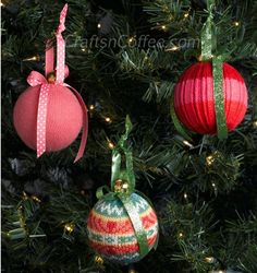 DIY beautiful Christmas Ornaments from your old sweaters! CraftsnCoffee.com.