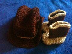 Newborn Baby Boy Crochet Brown N Tan Cowboy Hat N By Shayahjane, $30.99 - cute.