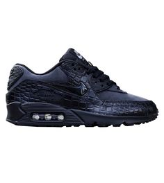 """""""If I'm gonna be hair-tied, sweatpants, chilling with no makeup on (yes, I'm quoting Drake), I might as well do that in these leather croc sneakers.""""  Nike women's Air Max 90 black croc, $120 at Kith"""