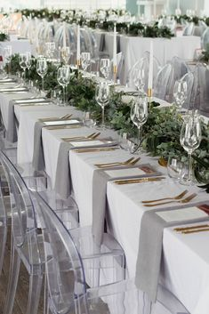 The Most Popular Wedding Color Trends For 2019 ❤ wedding color trends grey long tables woth greenery and candles bianca asher photography wedding colors The Most Popular Wedding Color Trends For 2019 Wedding Table Centerpieces, Wedding Table Settings, Reception Decorations, Centerpiece Ideas, Centerpiece Flowers, Long Table Decorations, Table Decor Wedding, Centrepieces, Flower Decorations