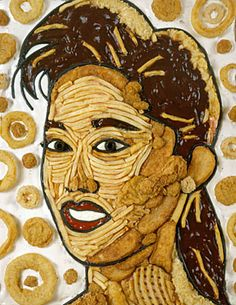 Jason Mecier is a mosaic artist who creates portraits made from various food items. He uses beans, noodles, cereal, potato chips, candy, & pretzels to create celebrity portraits / Seen here: Kristi Yamaguchi