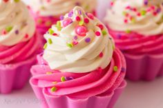 Black Raspberry Vanilla Soap Cupcakes Handmade Coconut Milk Aloe Vera Cold Process Shea butter Vegan Pink Purple 4.7 oz.