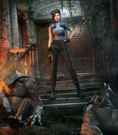Jill Valentine Vs. Hunters by DemonLeon3D on DeviantArt