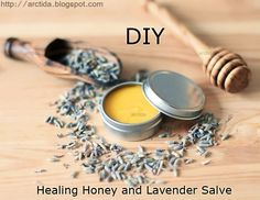 DIY Honey Lavender salve tutorial. How to make a healing ointment recipe