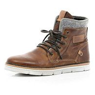Brown contrast panel chunky sole boots - boots - shoes / boots - men - Us.riverisland