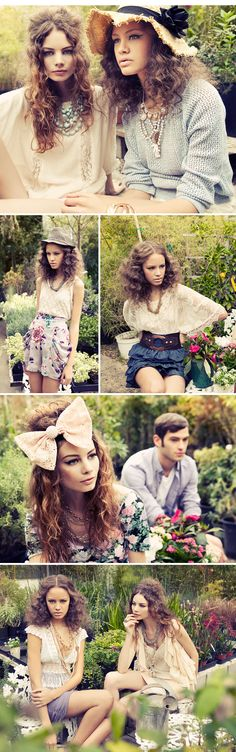another forever 21 look book for 2012 spring, make up of lace, florals and pastels.