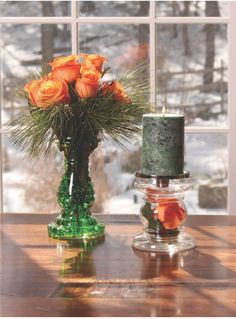 Mix fresh roses with pillar candles for a refreshing look. Pillar vases filled with DewDrops filler and rose petals tie the look together. Available at S&J Gift Outlet