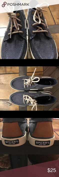 Sperry High Top Boating Sneakers Never worn. Color: denim with memory foam Shoes Sneakers