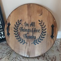 Updates from LovinWoodSigns on Etsy : Awesome wood serving tray! Wooden Serving Trays, Serving Tray Decor, Etsy Co, Home Wooden Signs, Diy Crafts For Adults, Small Wood Projects, Wood Circles, Wood Rounds, Great Housewarming Gifts
