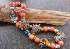 Handmade lampwork necklace   summer by dianegoergen on Etsy,