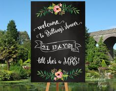 Chalkboard Bridal Shower Welcome Sign, Floral Bridal shower sign, Countdown wedding sign, days  till she's a MRS sign, Printable, BSWS11 by OccasionHouse on Etsy