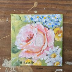 Roses with Daisies acrylic original painting 4 by Studio511emainst, $20.00