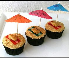 Another cute cupcake idea! This is great for the summer. Crush Graham Crackers on top of the icing then place a small piece of a fruit roll-up then place your teddy graham on top!  ~ From: My Kids are Making Me Crazy
