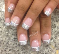 cute nails: simple french tips manicure print pattern nail design and silver glitter