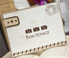 Bon Voyage Card by Ashley Newell for Papertrey Ink (May Cool Cards, Diy Cards, Bon Voyage Cards, Cute Journals, Travel Nursing, Travel Cards, Scrapbook Cards, Scrapbooking, Cards