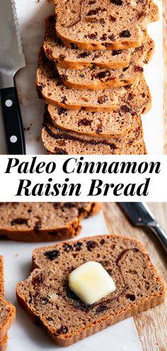Cinnamon Raisin Bread {Paleo, Gluten-Free, Dairy-Free} Cinnamon Raisin Bread, Chocolate Chip Banana Bread, Paleo Baking, Gluten Free Baking, Paleo Food, Vegan Snacks, Paleo Diet, Healthy Food, Paleo Sweets