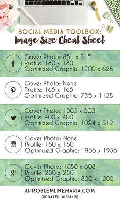 Social Media Toolbox: Image Size Cheat Sheet | A Problem Like Maria