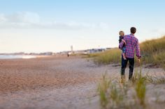 Walking, Beach, Family, Together, Father And Son