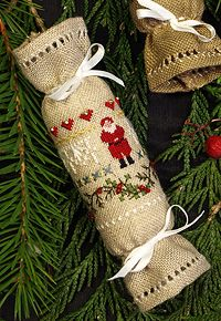 The Victoria Sampler Beautiful Finishing 2 - design and class to learn how to stitch/finish these Christmas crackers. Uses Kreinik Silk Mori.