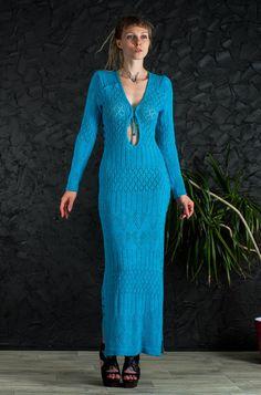 CROCHET turquoise Dress asymmetric Dress Handmade Maxi Dress Crochet  Dress KNIT lacy Dress Crochet turquoise Dress Knit sleeves floor Dress by CrochetDressTalita on Etsy