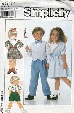 Simplicity 9532; ©1989; Child's Dress, Pants, Shorts and Vest, Sizes 3-6, UNCUT (FF) - New Vintage Studio