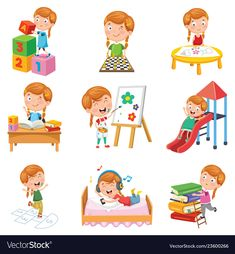 Of little girl playing Royalty Free Vector Image Happy Cartoon, Cartoon Kids, Sport Craft, Preschool Curriculum, English Worksheets For Kids, Happy Kids, Kids Education, Clipart, Kids Playing