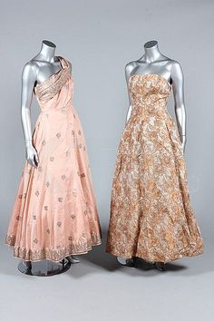 Two 1950s ballgowns, one inspired by (and possibly using) Indian sari fabric. |  Kerry Taylor Auctions